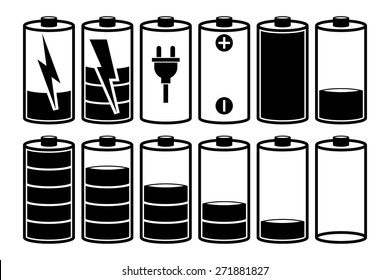 Battery charge. Set symbols of different status. Can be used for interface of smartphones, tablets, laptops, or design emblem of energy. Black vector outline isolated on white background.