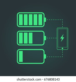 Battery charge status. Mobile phone with low and full battery. Vector illustration