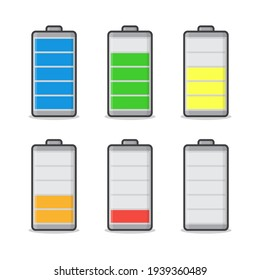 Battery Charge Status Vector Icon Illustration. Battery Indicators Flat Icon
