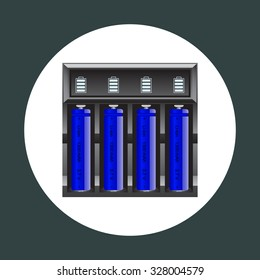 battery charger with batteries. icon. vector design