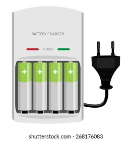 Battery charger with finger batteries and indicators low, high vector isolated, black electric plug in