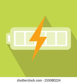 Battery Charger Icon. Vector illustration. Elements for design. Battery Charger Icon on light green background. Battery Charger Icon with Long Shadow. Battery Energy Icon. Electronics Battery Icon.