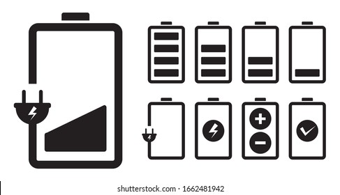 Battery charging charge indicator icon. level battery energy on white background