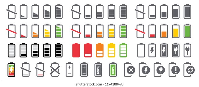 Battery charging charge indicator icons vector icon level Battery Energy powerfully full fun funny power running low up status batteries set logo Charge level empty loading bar Gadgets alkaline tags