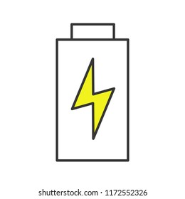 Battery charging color icon. Battery level indicator. Isolated vector illustration