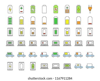 Battery charging color icons set. Smartphone, laptop and electric car charge. Electric energy accumulation for different devices. Battery level indicator. Isolated vector illustrations