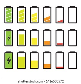 Battery Charging Color Various Design on White Logo Symbol Vector