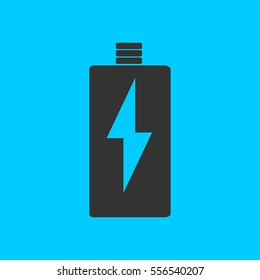 Battery Charging icon flat. Simple vector black pictogram on blue background
