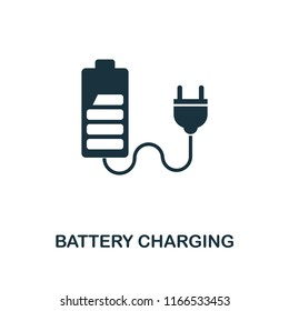 Battery Charging icon. Monochrome style design from power and energy collection. UI. Pixel perfect simple pictogram battery charging icon. Web design, apps, software, print usage.