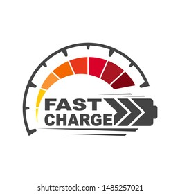 Battery charging logo icon. Quick and fast charge logo icon. EPS 10