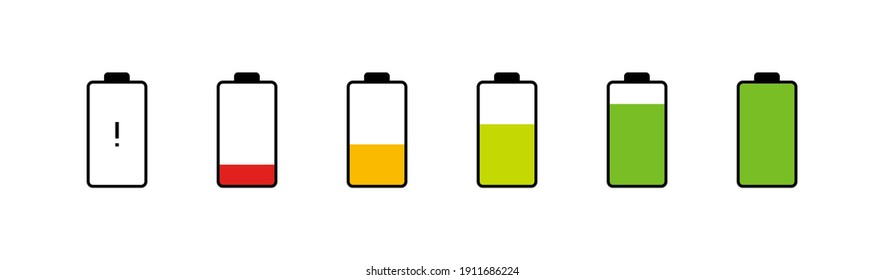 Battery charging phone set icon. Vector illustration flat design