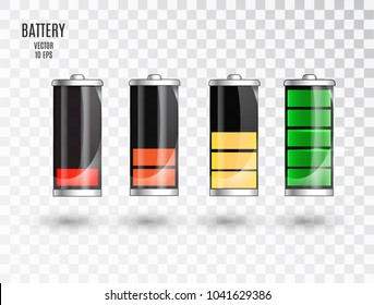 Battery charging. Battery charging status indicator. Glass realistic power battery illustration on transparent background. Full charge total discharge. Charge status. Vector