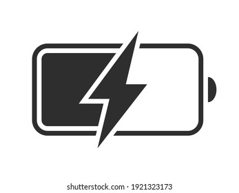 Battery charging vector icon. Charge level indicator. Discharged and fully charged battery symbol. Vector illustration.