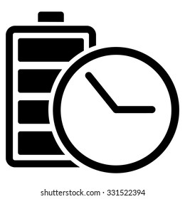 Battery Clock vector icon. Style is flat symbol, black color, rounded angles, white background.