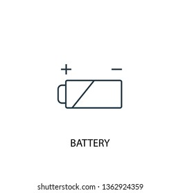 battery concept line icon. Simple element illustration. battery concept outline symbol design. Can be used for web and mobile UI/UX