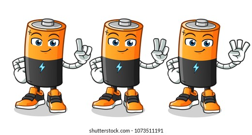 battery counting mascot vector cartoon illustration