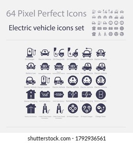 Battery Electric Vehicle Icon.(BEV,EV).Electric car.Charger station.Battery power plug.Home Charging.Solid State Battery.Home Link Devices.Cable Power Supply Connection.Head Charger. 64 Pixels glyph