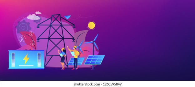 Battery energy storage from renewable solar and wind power station. Energy storage, energy collection methods, electrical power grid concept. Header or footer banner template with copy space.