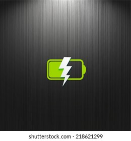 battery, flat icon isolated on dark textured background for your design, vector illustration