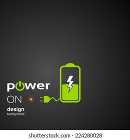 Battery flat icon Power concept background design layout for poster flyer cover brochure banner, promotional product presentation