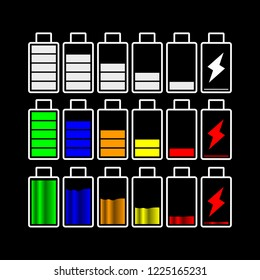Battery Flat Icon Set Vector, For Your mobile , web development