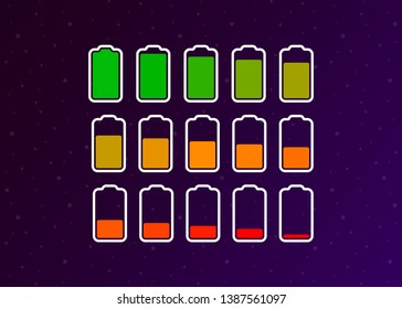 Battery Full Low Empty Charging Smartphone Fully Charged Vector Illustration