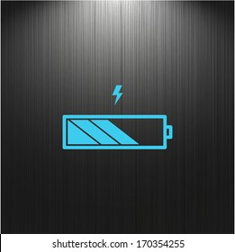 Battery icon, charge level indicator on a dark background for your design