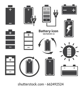 battery icon design on isolate white background. vector illustration.