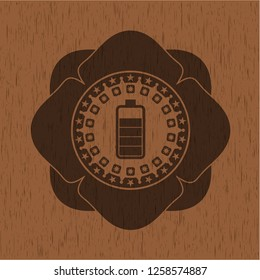 battery icon inside realistic wooden emblem
