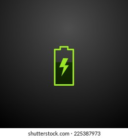 Battery icon isolated on a black background for your design, vector illustration