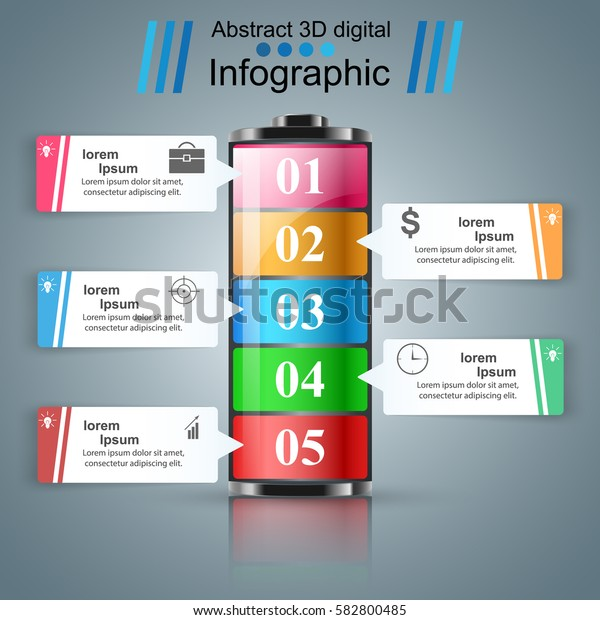 Battery icon on the grey background. Business Infographics origami style Vector illustration.