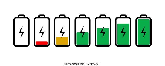 Icône batterie sur blanc. illustration du chargeur. Signe plat