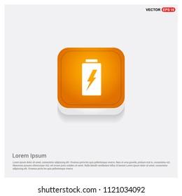 Battery Icon Orange Abstract Web Button - Free vector icon