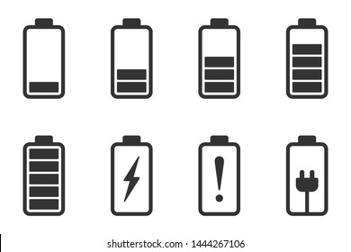 Battery icon set, Batteries with varying levels of power
