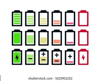 Battery icon set .Set of battery charge level indicators
