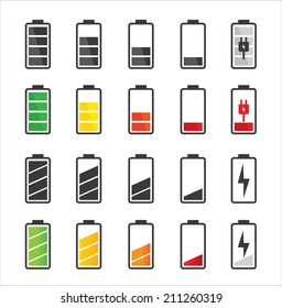 Battery icon set .Set of battery charge level indicators