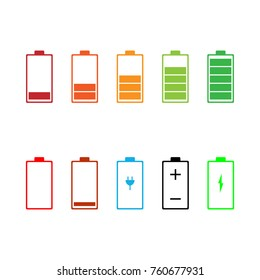 Battery icon set. Vector illustration.
