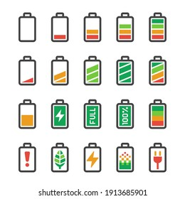 battery icon set,vector and illustration