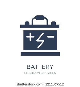 Battery icon. Trendy flat vector Battery icon on white background from Electronic devices collection, vector illustration can be use for web and mobile, eps10