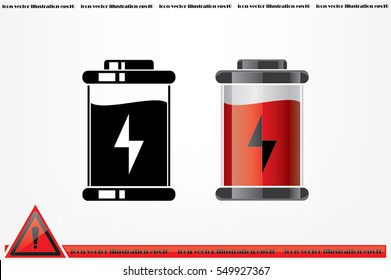 battery icon vector EPS 10, abstract sign charger flat design,  illustration modern isolated badge for website or app - stock info graphics