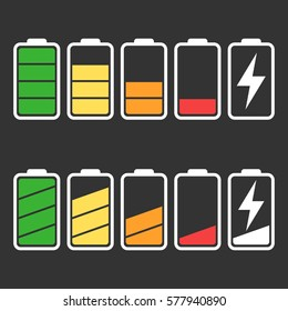 Battery icon vector set isolated on black background. Symbols of battery charge level, full and low. The degree of battery power flat vector illustration.