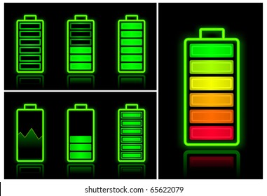 Battery icons with different charge levels on black background, vector illustration