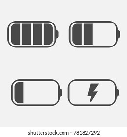 battery icons full bar half charging and empty for mobile phones and industrial cells