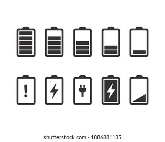 Battery icons. Full, low, and empty battery status. Set battery power from low to full charging. Warning battery status. Vector design illustration.