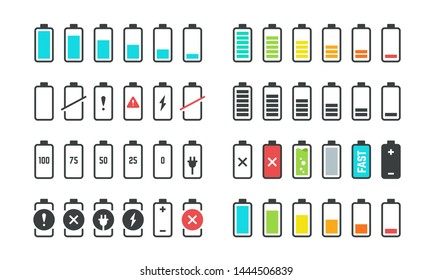 Battery icons. Phone charge level, UI design elements of battery percentage, full low and empty battery status. Vector isolated set phone power from low to full charging
