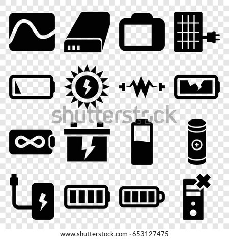 Battery Icons Set Set 16 Battery Stock Vector Royalty Free