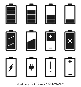Battery icons set. Battery level and indicator related different styles vector icons.