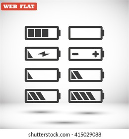 Battery icons set Vector 10 EPS