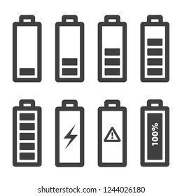 Battery icons set. Vector icons outline, isolated on white background