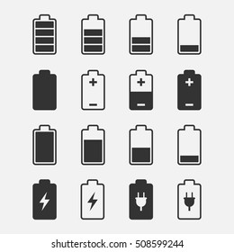Battery icons vector set of isolated from the background. Symbols of battery charge level, full and low.